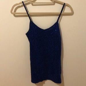 Blue sequin cami tank